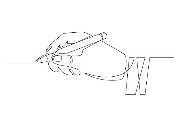 Mano con penna. mano dell'uomo d'affari di una linea continua che tiene la matita e scrive in linea retta. il minimo concetto di linea di scrittura a mano. il lavoratore firma il contratto, appone la firma, scrive o disegna