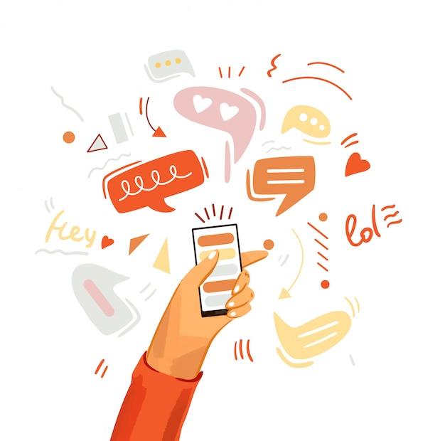 Mano con l'illustrazione del fumetto del telefono. smartphone con messenger, chat online, like e social engagement, isolato su sfondo bianco
