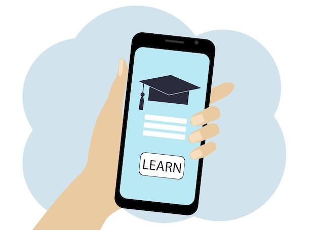 Mano con disegno vettoriale di telefono. simboli di apprendimento online sul telefono. cappello e testo