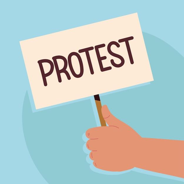 Mano con striscione di protesta