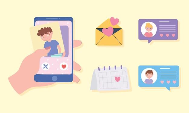 Mano con smartphone, chat d'amore, calendario e busta