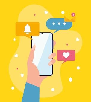 Mano con smartphone e icone di messaggistica