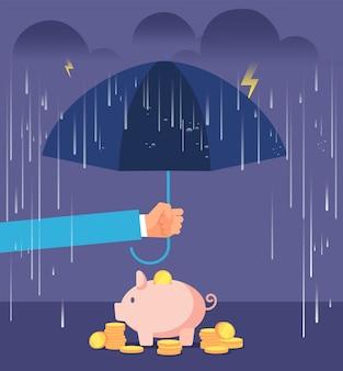 Mano con ombrello proteggendo salvadanaio da pioggia e tempesta.
