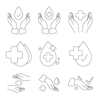 Mano con goccia d'acqua e croce medica timbro per insegne testato clinicamente o dermatologicamente