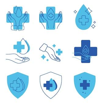 Mano con goccia d'acqua e croce medica etichette approvate dal punto di vista medico timbro per insegne testato clinicamente