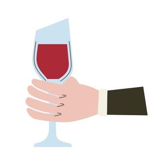 Mano con bicchiere di vino