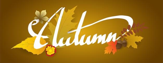 Scrittura a mano autunno testo boder, banner con foglie.