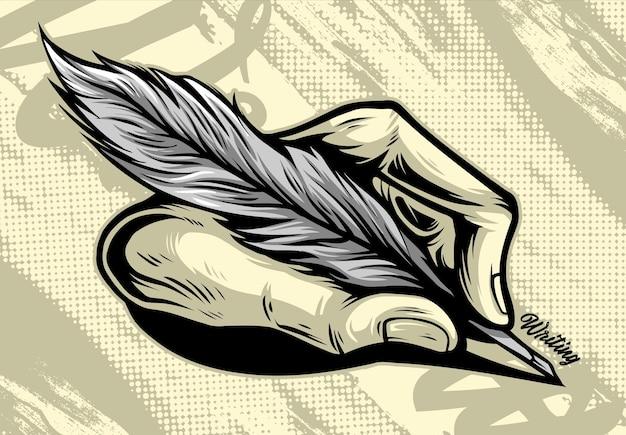 Scrittura a mano usa una scrittura a mano con l'illustrazione della penna piuma