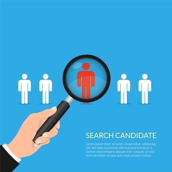 Lente di ingrandimento zoom a mano che seleziona il miglior concetto di persona candidata illustrazione di reclutamento di lavoro