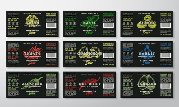 Collezione di modelli di etichette di salsa artigianale. set di layout di progettazione di imballaggi astratti