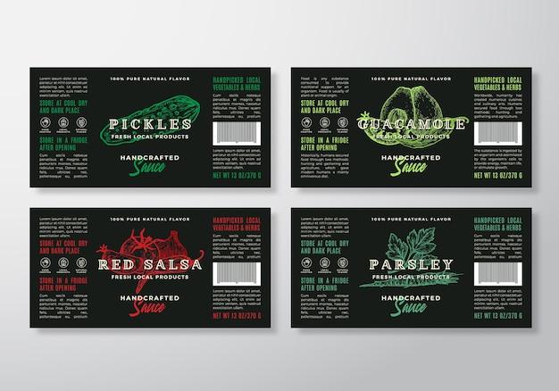 Set di modelli di etichette di salsa artigianale. layout di progettazione di imballaggi astratti