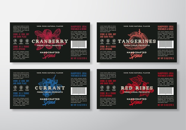 Set di modelli di etichette artigianali spalmabili o marmellate