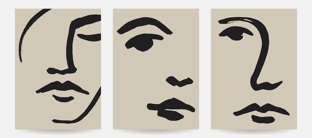 Illustrazioni di volti astratti disegnati a mano stampe d'arte vettoriale alla moda