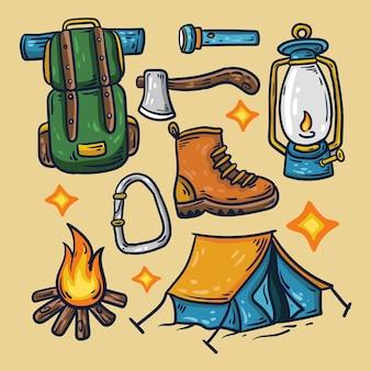 Illustrazioni di set da campeggio disegnati a mano