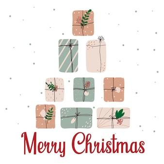 Cartolina di natale disegnata a mano con regali cartolina di natale con scatole regalo scritte natalizie