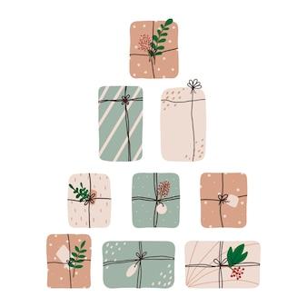 Cartolina di natale disegnata a mano con regali cartolina di natale con scatole regalo