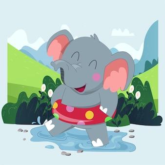 Elefante carino disegnato a mano felice che gioca con l'acqua con sfondo verde della foresta