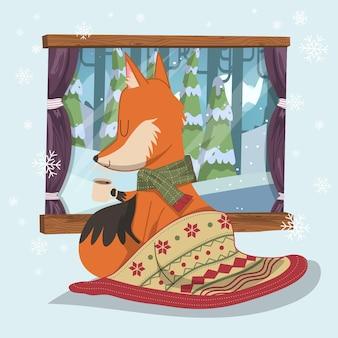 Volpe carina disegnata a mano che si rilassa al caldo di casa con una coperta di natale e una tazza di cioccolato
