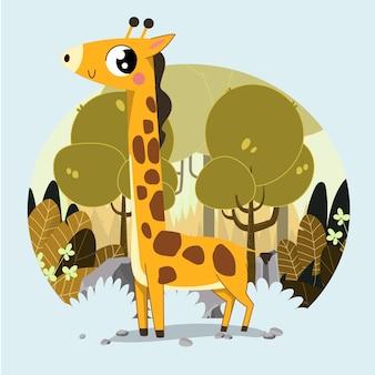 Giraffa carina disegnata a mano sullo sfondo della foresta di savanna