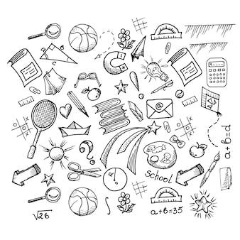 Elementi disegnati a mano di design scolastico per la progettazione di set di vettori di opere