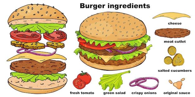 Hamburger di fast food disegnato a mano e i suoi ingredienti