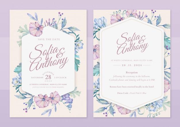 Carta di invito matrimonio floreale disegnato a mano Vettore Premium