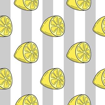 Limoni disegnati a mano su uno sfondo di cartone animato a strisce senza soluzione di continuità