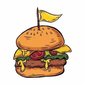 Hamburger fuso disegnato a mano