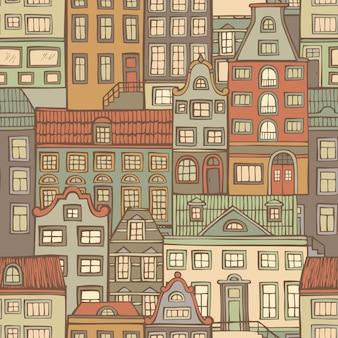 Modello senza cuciture di vecchie case disegnate a mano