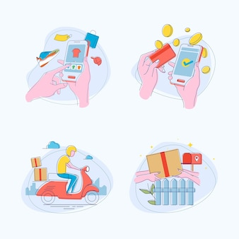 Illustrazione disegnata a mano della scena dello shopping online in design piatto
