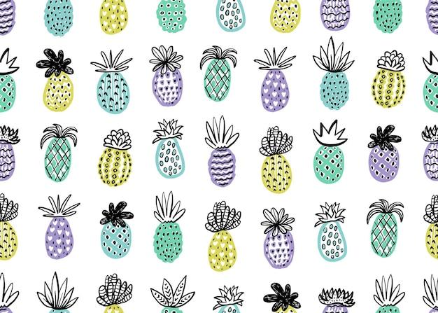 Ananas disegnato a mano con diverse trame in colori pastello seamless pattern