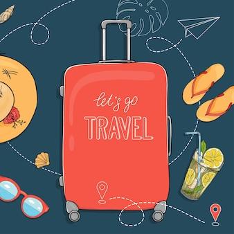 Poster disegnato a mano sul tema dei viaggi e delle vacanze al mare con un posto per il tuo testo