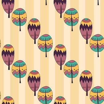 Reticolo senza giunte di doodle disegnato a mano di alberi in vivaci colori divertenti - stile cartone animato