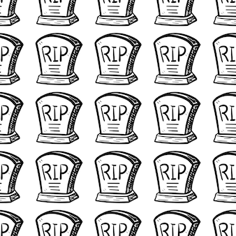 Icona di doodle tomba disegnato a mano senza cuciture. schizzo nero disegnato a mano. segno simbolo del fumetto. elemento decorativo. sfondo bianco. isolato. design piatto. illustrazione vettoriale.