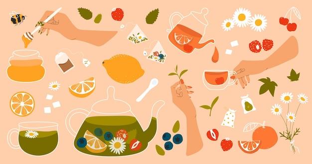 Un set disegnato a mano di elementi per la cerimonia del tè in stile piatto miele tè verde frutta e bevande alle erbe
