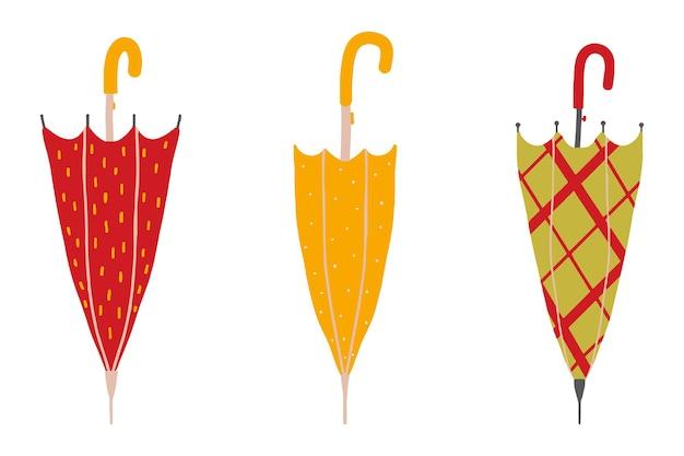 Set di ombrelli disegnati a mano ombrelli aperti e chiusi ombrelli da passeggio