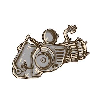 Motore supercub disegnato a mano