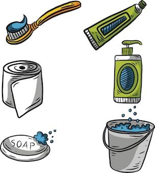 Illustrazione disegnata a mano dell'elemento della toletta