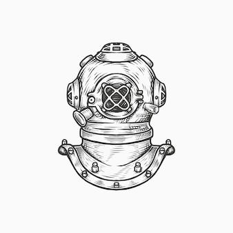 Casco subacqueo vintage disegnato a mano