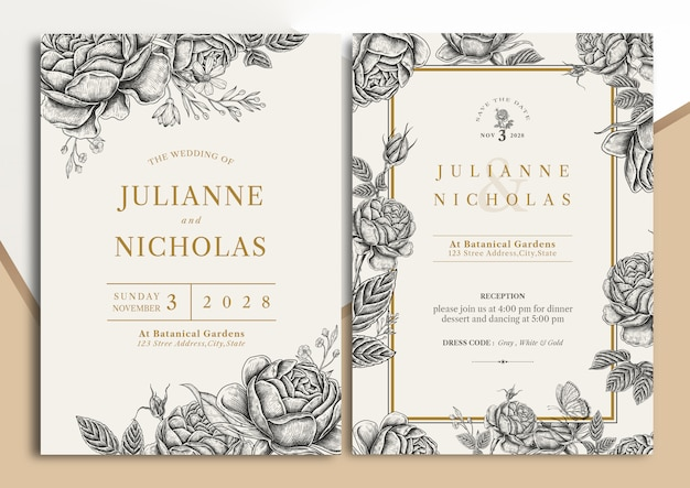Carta di invito matrimonio floreale vintage disegnato a mano