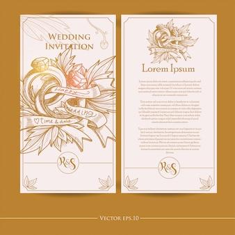 Disegno dell'invito di nozze handdrawn