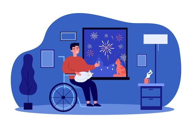 Uomo disabile guardando i fuochi d'artificio da casa. non valido, gatto, illustrazione piatta per sedia a rotelle. intrattenimento e concetto di disabilità