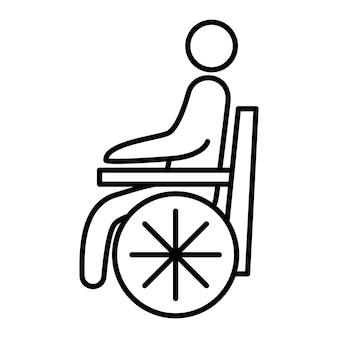 Icona della linea del paziente disabile. simbolo della persona su sedia a rotelle. l'uomo disabile delinea l'icona del vettore. può essere usato come segnaletica igienica o segnaletica per il trasporto. simbolo, illustrazione del logo. vettore