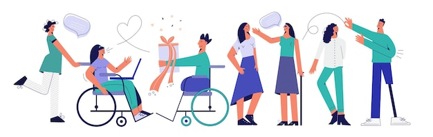Illustrazione vettoriale piatta di persone portatrici di handicap impostare un gruppo di persone disabili di giovani con disabilità