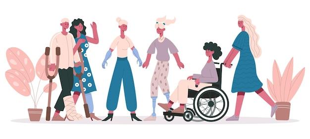 Persone andicappate. gruppo di personaggi disabili, persone disabili amichevoli illustrazione vettoriale isolata. gruppo di disabili. portatori di handicap e disabilità, invalidi su sedia a rotelle, handicap e disabili