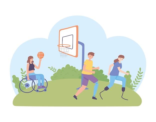 Persone disabili che giocano
