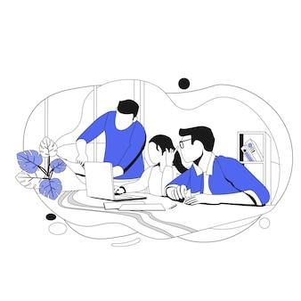 Consegna del lavoro. illustrazione di affari in stile piatto