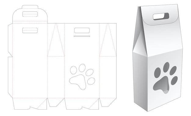 Maniglia la scatola del sacchetto con il modello fustellato della finestra a forma di stampa del piede del cane