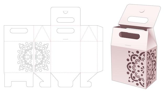 Maneggiare la scatola della borsa con lo stencil di mandala e il modello fustellato