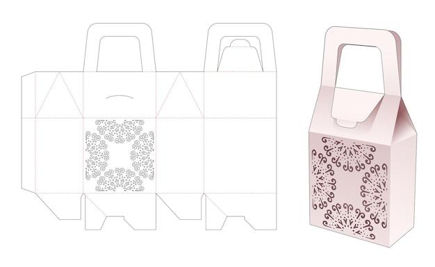 Maniglia la scatola del sacchetto con il modello fustellato di mandala stampato